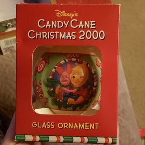 Disney Pooh Candy Cane glass ball ornament